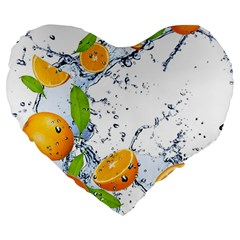 Fruits Water Vegetables Food Large 19  Premium Flano Heart Shape Cushions by BangZart