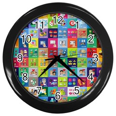 Exquisite Icons Collection Vector Wall Clocks (black)