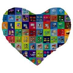 Exquisite Icons Collection Vector Large 19  Premium Heart Shape Cushions by BangZart