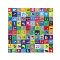 Exquisite Icons Collection Vector Small Satin Scarf (square) by BangZart