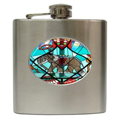 Elephant Stained Glass Hip Flask (6 Oz) by BangZart