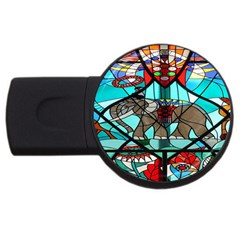 Elephant Stained Glass Usb Flash Drive Round (4 Gb) by BangZart