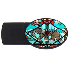 Elephant Stained Glass Usb Flash Drive Oval (4 Gb) by BangZart