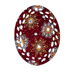 India Traditional Fabric Oval Filigree Ornament (two Sides)