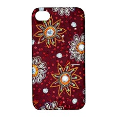 India Traditional Fabric Apple Iphone 4/4s Hardshell Case With Stand by BangZart