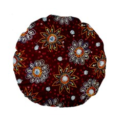 India Traditional Fabric Standard 15  Premium Flano Round Cushions by BangZart