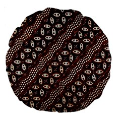 Art Traditional Batik Pattern Large 18  Premium Round Cushions by BangZart