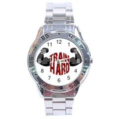 Train Hard Stainless Steel Analogue Watch by Valentinaart