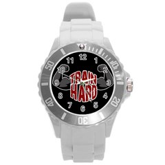 Train Hard Round Plastic Sport Watch (l) by Valentinaart