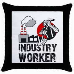 Industry Worker  Throw Pillow Case (black)