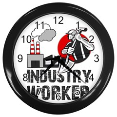 Industry Worker  Wall Clocks (black) by Valentinaart