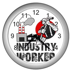 Industry Worker  Wall Clocks (silver)  by Valentinaart