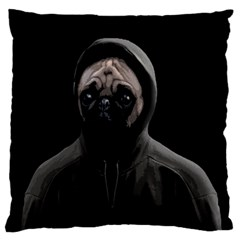 Gangsta Pug Large Cushion Case (two Sides) by Valentinaart