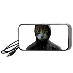 Gangsta Cat Portable Speaker (black) by Valentinaart
