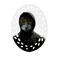 Gangsta Cat Ornament (oval Filigree)