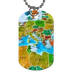 World Map Dog Tag (two Sides)
