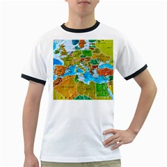 World Map Ringer T Shirts