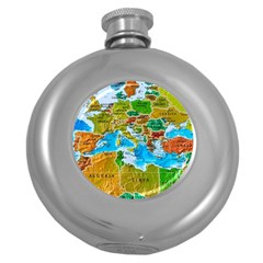 World Map Round Hip Flask (5 Oz) by BangZart