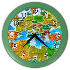 World Map Color Wall Clocks