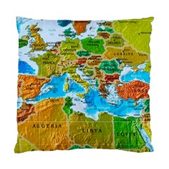 World Map Standard Cushion Case (two Sides) by BangZart
