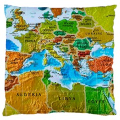 World Map Large Cushion Case (two Sides) by BangZart