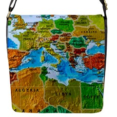 World Map Flap Messenger Bag (s)