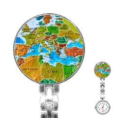 World Map Stainless Steel Nurses Watch