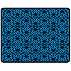Triangle Knot Blue And Black Fabric Fleece Blanket (medium)  by BangZart