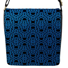 Triangle Knot Blue And Black Fabric Flap Messenger Bag (s)