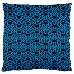Triangle Knot Blue And Black Fabric Large Flano Cushion Case (two Sides)