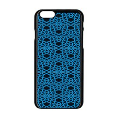 Triangle Knot Blue And Black Fabric Apple Iphone 6/6s Black Enamel Case
