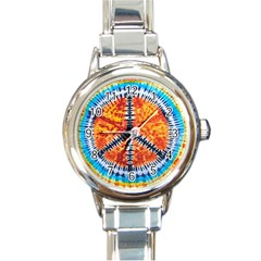 Tie Dye Peace Sign Round Italian Charm Watch by BangZart