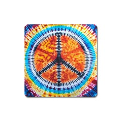 Tie Dye Peace Sign Square Magnet