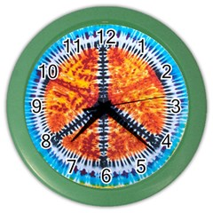 Tie Dye Peace Sign Color Wall Clocks