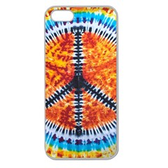 Tie Dye Peace Sign Apple Seamless Iphone 5 Case (clear) by BangZart