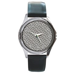 Grey Diamond Metal Texture Round Metal Watch