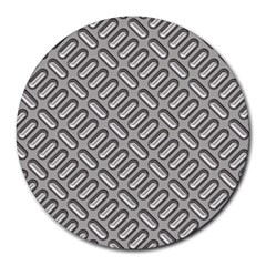 Grey Diamond Metal Texture Round Mousepads