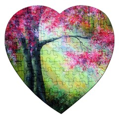 Forests Stunning Glimmer Paintings Sunlight Blooms Plants Love Seasons Traditional Art Flowers Sunsh Jigsaw Puzzle (heart) by BangZart