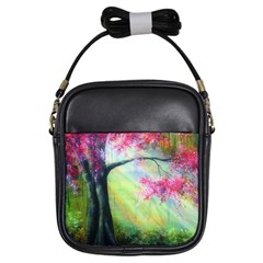 Forests Stunning Glimmer Paintings Sunlight Blooms Plants Love Seasons Traditional Art Flowers Sunsh Girls Sling Bags by BangZart