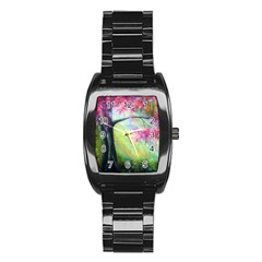 Forests Stunning Glimmer Paintings Sunlight Blooms Plants Love Seasons Traditional Art Flowers Sunsh Stainless Steel Barrel Watch