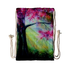 Forests Stunning Glimmer Paintings Sunlight Blooms Plants Love Seasons Traditional Art Flowers Sunsh Drawstring Bag (small) by BangZart