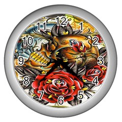Flower Art Traditional Wall Clocks (silver)  by BangZart