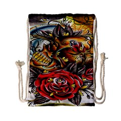Flower Art Traditional Drawstring Bag (small)