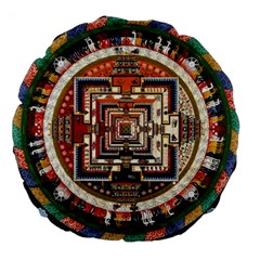 Colorful Mandala Large 18  Premium Flano Round Cushions by BangZart