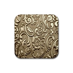Golden European Pattern Rubber Square Coaster (4 Pack)