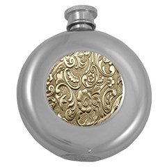 Golden European Pattern Round Hip Flask (5 Oz)