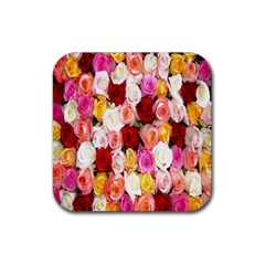 Rose Color Beautiful Flowers Rubber Coaster (square)  by BangZart