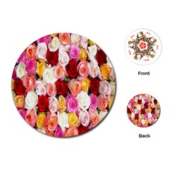 Rose Color Beautiful Flowers Playing Cards (round)