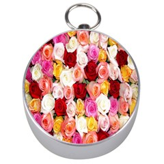 Rose Color Beautiful Flowers Silver Compasses by BangZart