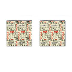 Backdrop Style With Texture And Typography Fashion Style Cufflinks (square) by BangZart